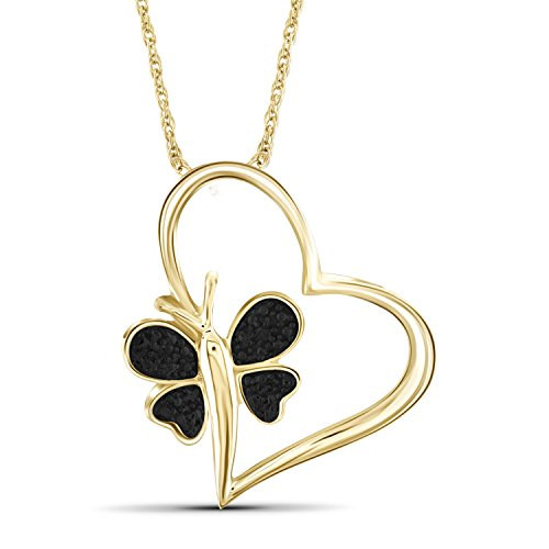 Jewelexcess Black Diamond Accent 14k Gold Over Silver Heart And Butterfly Pendant