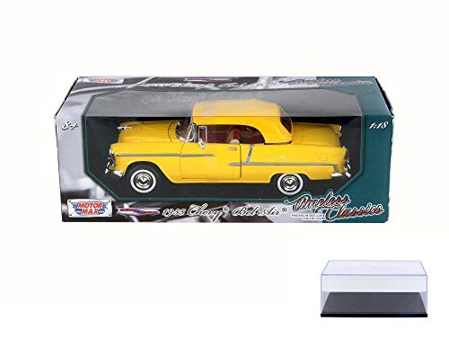 Motor Max Diecast Car & Display Case Package - 1955 Chevy Bel Air Closed Convertible, Yellow 73184TC - 1/18 Scale Diecast Model Toy Car w/Display Case