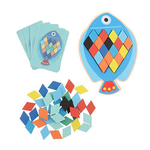 Fityle Wooden Fish Jigsaw Puzzle Board - Educational Tangram Game, Kids Brain Teaser Training Tetris Toy Building Blocks (Big Fish Jigsaw Wooden)