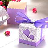 The Pecan Man Love Heart Candy Boxes Wedding Favor Party Gift Boxes With Ribbons 100pcs purple