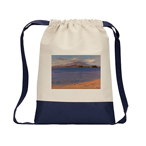 Mt Katahdin Lake Millinocket (Church) Canvas Backpack Color Drawstring - Navy by Style in Print