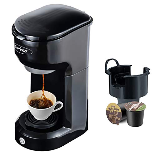 Single Serve Coffee Maker Coffee Brewer Compatible with K-Cup Single Cup Capsule with 6 to 14oz Reservoir, Mini Size, KMC202, Black