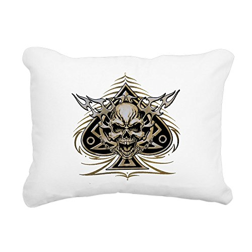 - Rectangular Canvas Throw Pillow Natural Skull Spade Chains and Flames