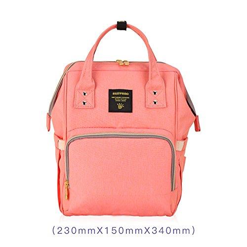 Bolso de la momia, bolso de múltiples funciones de la mamá de la gran capacidad, morral de los hombros, bolso de la madre de la manera, bolso del bebé de la madre ( Color : Azul ) Pink