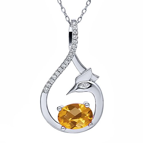 Gem Stone King 1.47 Ct Oval Checkerboard Yellow Citrine 925 Sterling Silver Phoenix Pendant