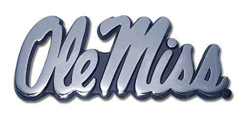 Elektroplate Ole Miss University of Mississippi Script Chrome Plated Premium Metal NCAA College Car Truck Motorcycle ()