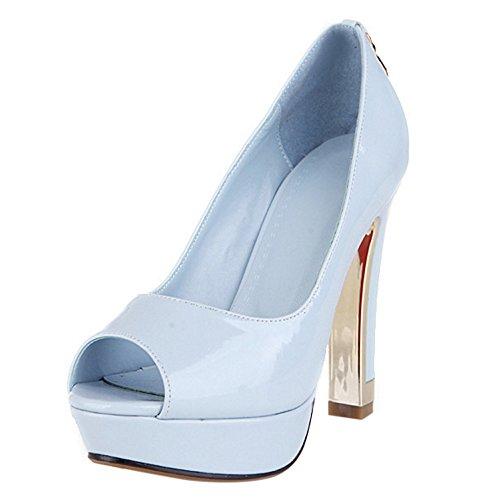 COOLCEPT Mujer Moda Sin Cordones Tacon Alto Sandalias Peep Toe Plataforma Tacon Embudo Bombas Zapatos Azul