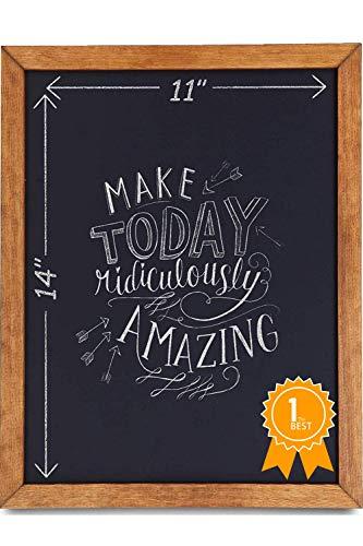 Chalkboard Sign [11 x 14] - Premium Rustic Chalk Board, Pine Wood Framed Magnet Board, Regular or Liquid Chalk Markers, Kitchen Countertop Sign, Decorations for Weddings Birthdays Receptions ()