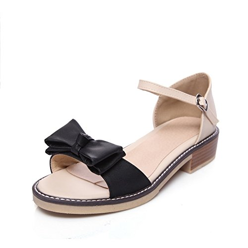 AdeeSu Womens Flats-Shoes Peep-Toe Buckle Ankle-Wrap Low-Heels Cold Lining Not_Water_Resistant Fashion Round-Toe Cushioning Urethane Flats Shoes SLC03535 Black tI7S4YRY