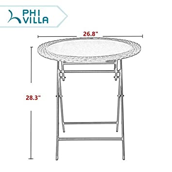 PHI VILLA 26.8 Outdoor Wicker Folding Table- Patio Rattan Dining Table