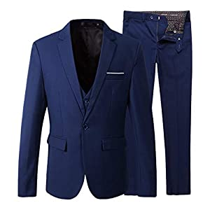 Beninos Men's Slim Fit Suit Blazer Jacket Tux Vest Pants 3 Pieces Suit Set