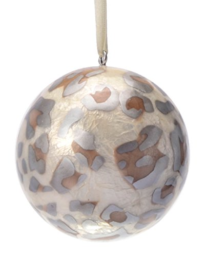 eve + belle Stripes & Leopard Prints Repurposed Capiz Christmas Ornaments (Silver, Medium)]()