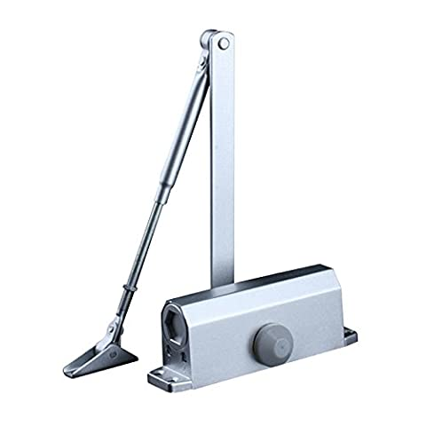 HOMEE Door Closer Satin Stainless Steel Aluminum Alloy Door Accessory with Hydraulic Hinge 2 Adjustment Valves, for Door Weight 55 LB-99 LB Door Width up to 900 mm (Square)