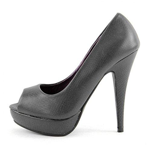 High Heels Pumps Damenschuhe Stiletto Plateau Schuhe Schlangenleder Optik Z4826-P, Präzise Farbe:Schwarz;Schuhgröße:EUR 40