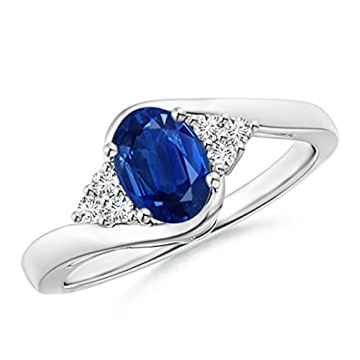 Angara Oval Blue Sapphire Bypass Ring With Trio Diamonds in Platinum iX93Sg
