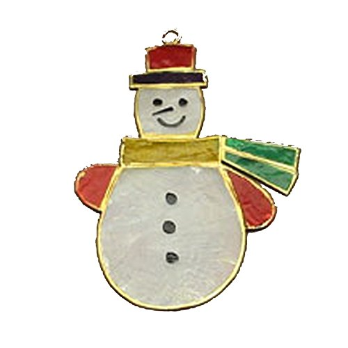 Coastal Beach Christmas Ornaments Decoration, Capiz Snowman in Color 4x3.75