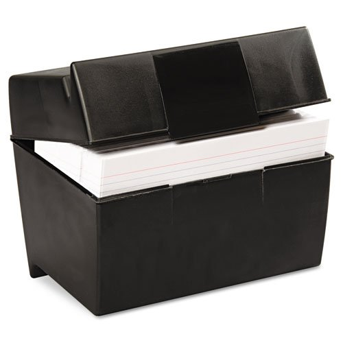 Oxford Plastic Index Card Box, 5 x 8 Inches, 500 Card Capacity, Black (01581) (Esselte Business Card Holder)