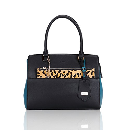 LYDC Panels Top Tote handled Teal Side with print and leopard Black 4a4xqrwOB