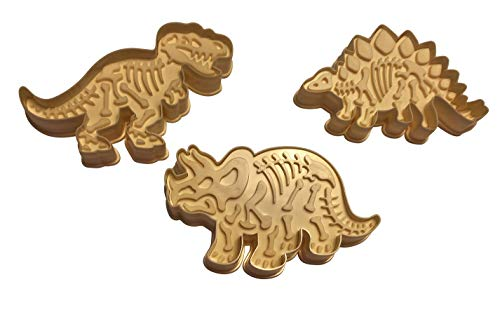 3 Dinosaur Shaped Cookie Cutters - 3-D Skeleton Fossil Super Set - Dino Shape Molds Cutters Stamps - T-Rex Triceratops Stegosaurus Shapes - by Jolly Jon -