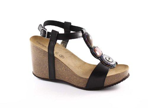 Grünland ESTRELLA SB0138 mujer sandalias de cuña negro piedras Birk Nero