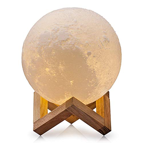 Betazero Moon Lamp Night Light Lunar Light Touch Control Color Changing Brightness Two Tone Warm and Cool for Baby for Kids Gifts for Women 3D Printer with Wooden Base Table USB Rechargeable (4.7IN) by betazero