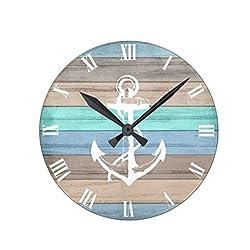 Lionkin8 Rustic Beach Wood Nautical Stripes & Anchor Wall Clock