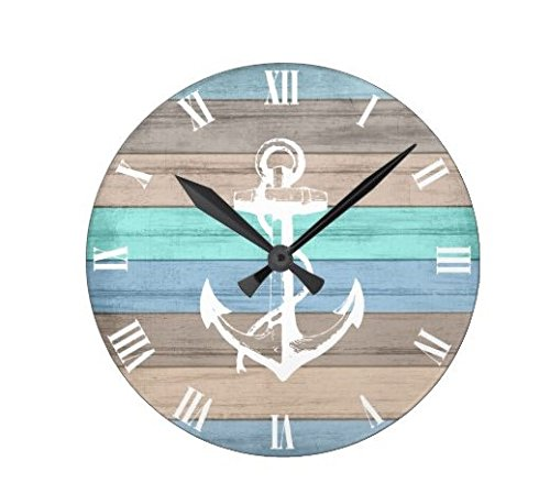 Lionkin8 Rustic Beach Wood Nautical Stripes & Anchor Wall Clock