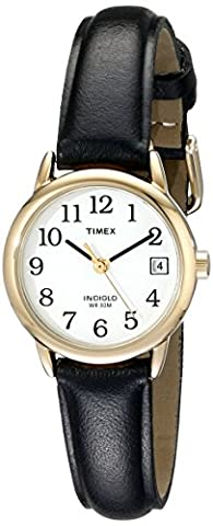 Timex Women's T2H341 Easy Reader Black Leather Strap Watch (Leather Round Watch)
