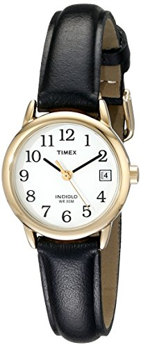 Timex Women's T2H341 Easy Reader Black Leather Strap Watch ()