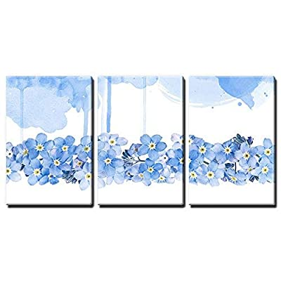 Charming Craft, Classic Artwork, 3 Panel Small Blue Flowers on White and Blue Watercolor Style Background x 3 Panels