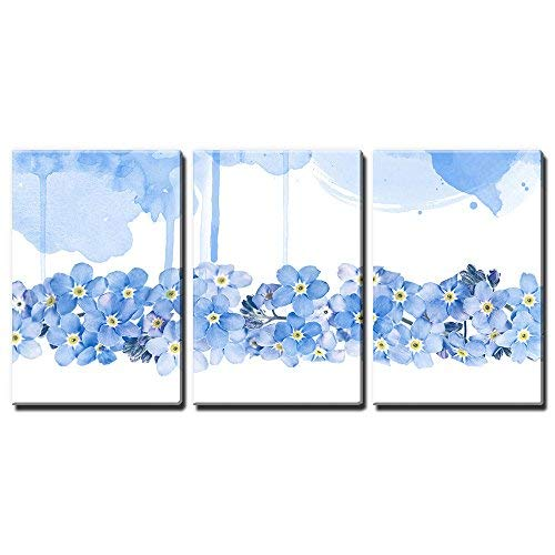 3 Panel Canvas Wall Art - Small Blue Flowers on White and Blue Watercolor Style Background - Giclee Print Gallery Wrap Modern Home Art Ready to Hang - 24
