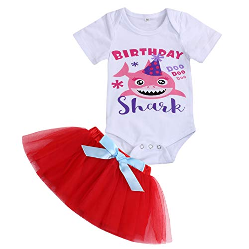 Baby Girls Birthday Shark Skirt Sets Toddler Kids Shorts Sleeve Romper + Tutu Bow Skirt Summer Dresses Outfits (Red, 9-12 Months)