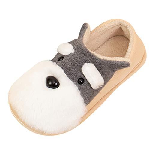 Toddler Boys Girls Plush Booties Little Kids Cute Winter Warm Slipper Slip-on Cartoon Animal Home Shoes