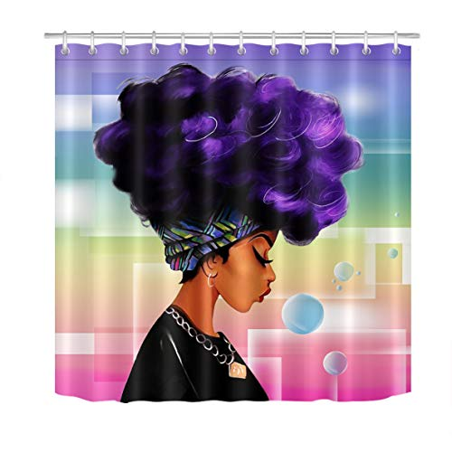 LB Afro Girl Shower Curtain,with Purple Hair Afro Hairstyle Design Portrait Picture Print,Waterproof Polyester Fabric Afro Decor for Bathroom 72x72 Inches