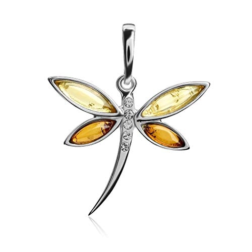 - Multicolor Amber Sterling Silver Dragonfly Small Pendant