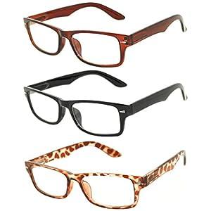 Retro Narrow Rectangular Clear Lens Eyeglasses 3 Pairs – Brown, Black, Leopard