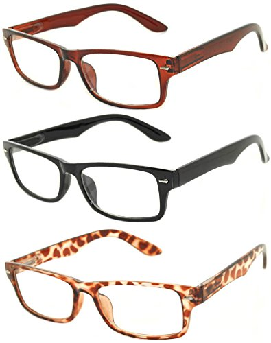 Retro Narrow Rectangular Clear Lens Eyeglasses 3 Pairs – Brown, Black, - Retro Women Glasses