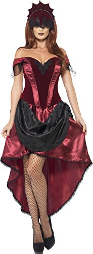 Smiffy's Women's Venetian Temptress Costume, Top, Skirt and Headpiece, Carnival of the Damned, Halloween, Size 6-8, 43743