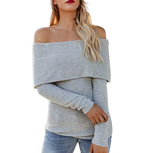 Womens Casual Long Sleeve Solid Cold Shoulder T Shirts Tops Blouse Tee Top -