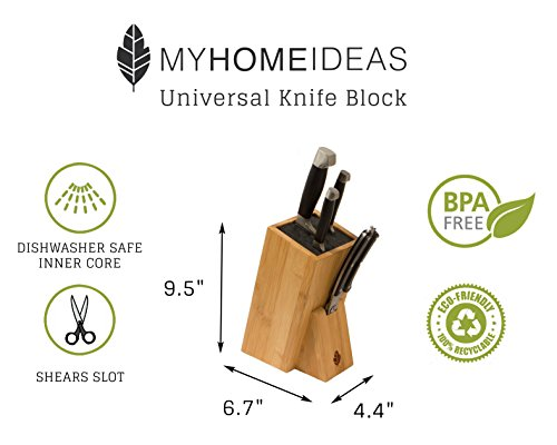 MyHomeIdeas Universal Bamboo Knife Block Stand - Wood Holder Safe Storage Space-Saver Organizer with Dishwasher Safe Removable Bristles - Eco-Friendly - Home & Kitchen (no Shelf) by MYHOMEIDEAS (Image #1)