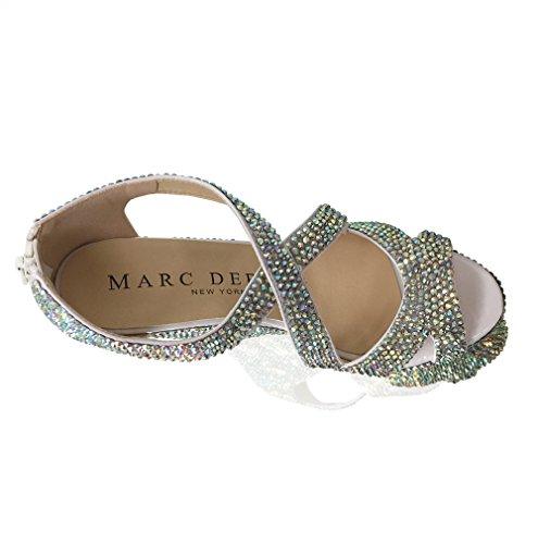 Marc Defang Nueva York Mujeres Cristal Hecho A Mano Boda Nupcial Plataforma Strappy Wedges Ab Cristales