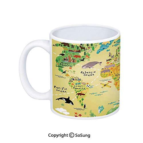 Kids Decor Coffee Mug,Educational World Map Africa America Penguins Atlantic Pacific Ocean Animals Australia Panda Decorative,Printed Ceramic Coffee Cup Water Tea Drinks Cup,
