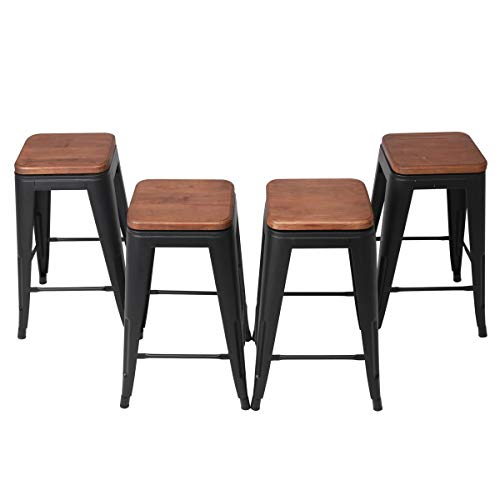 Changjie Furniture 24 Inch Swivel Metal Bar Stool Stack-able for Indoor-Outdoor Kitchen Counter Barstools Set of 4 (24 inch, Swivel Matte Black Wooden) ()