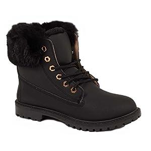 Primtex Bottines Rangers Boots fourrées Femme avec Revers Fourrure en Simili Cuir-