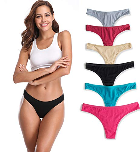 CCESS 6-Pack Women's Cotton Underwear Hipster Thongs-Bikini Panties (M)