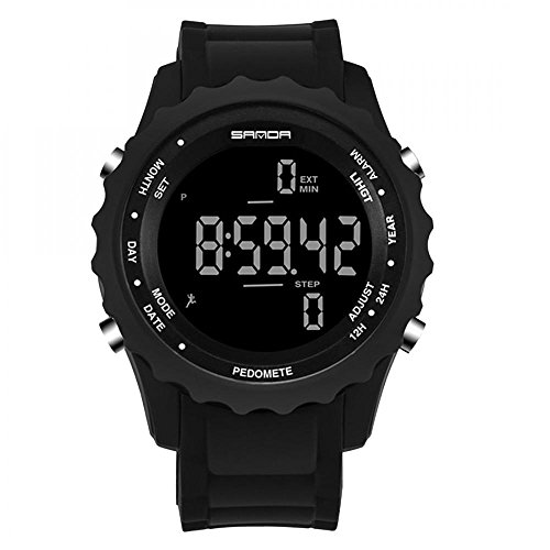 Men\'s Waterproof Military Digital LED Watch Multifunction Pedometer Wristwatches for Men (Black)
