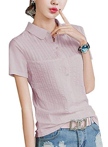 Heaven Days(ヘブンデイズ) シャツ ポロシャツ ゴルフシャツ レース 丸襟 シンプル 半袖 レディース 1707G0147