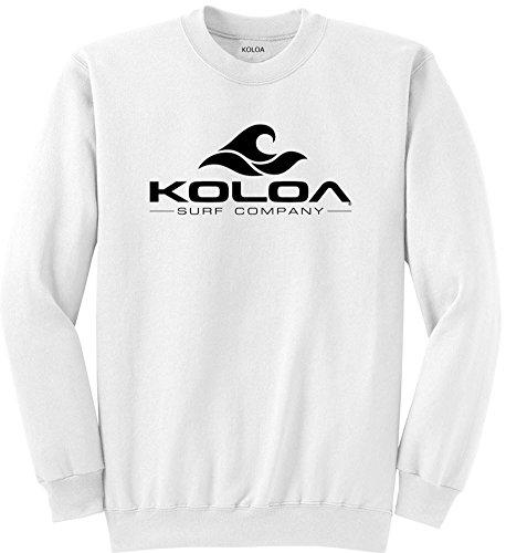 - Joe's USA Koloa Surf Classic Wave Logo Crewneck Sweatshirt - XL-White/b