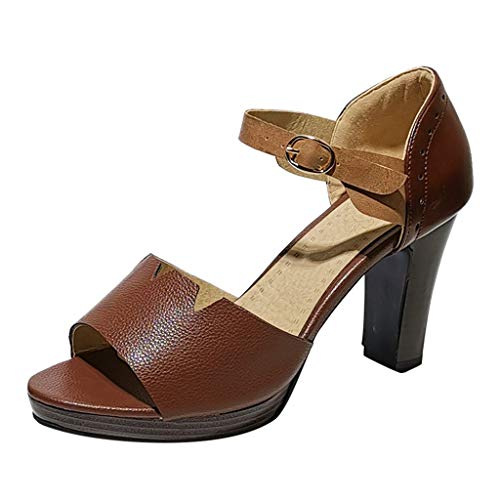 - HHei_K Ladies Fashion Retro Patchwork High Pumps Business Sandals Dance Shoes Casual Shoes for Women Heels and Pumps Brown