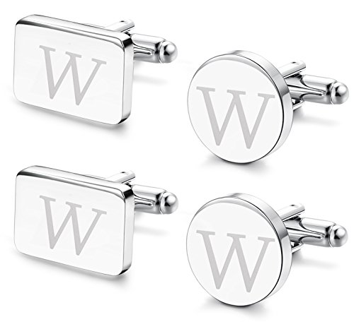 FIBO STEEL 2 Pairs Classic Engraved Initial Cufflinks for Men Alphabet Letter Cufflinks Set Wedding -